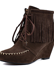 cheap -Women's Boots Wedge Heel Round Toe PU Booties / Ankle Boots Casual / British Fall & Winter Black / Dark Brown / Yellow