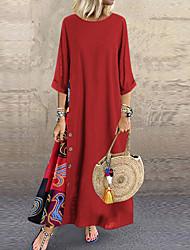 cheap -Women's Swing Dress - Color Block Maxi Yellow Blue Red L XL XXL XXXL