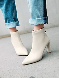 cheap -Women's Boots Chunky Heel Pointed Toe Faux Leather / Patent Leather Booties / Ankle Boots Casual Fall & Winter Black / Almond / Beige