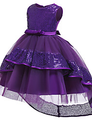 cheap -Kids Girls' Sweet Cute Solid Colored Sequins Beaded Bow Sleeveless Asymmetrical Dress Wine / Mesh