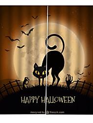 Недорогие -уф цифровая печать занавес затемнения влагостойкие пользовательские занавески для бара / спальни черная кошка хэллоуин тема фон шторы продукты