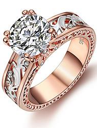 cheap -Women's Ring 1pc White Champagne Imitation Diamond Alloy Round Korean Fashion Cute Daily Jewelry Vintage Style Lucky