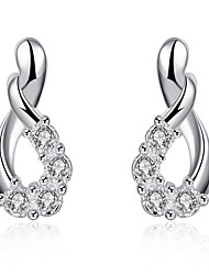 cheap -Women's Cubic Zirconia Earrings Geometrical Gypsophila Stylish Silver Plated Earrings Jewelry Silver For Daily Holiday 1 Pair