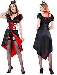 cheap -Queen of Hearts Cosplay Costume Outfits Masquerade Adults' Women's Cosplay Halloween Halloween Festival / Holiday Polyster Black Women's Carnival Costumes
