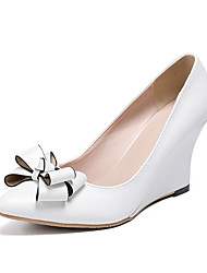 cheap -Women's Heels Wedge Heel Pointed Toe Bowknot PU Sweet / Minimalism Spring &  Fall / Spring & Summer White