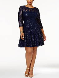 cheap -Women's Blue A Line Dress - 3/4 Length Sleeve Solid Colored Sequins Pleated Elegant Sophisticated Homecoming Cocktail Party Belt Not Included Blue XL XXL XXXL XXXXL / Lace