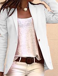 abordables -Femme Blazer, Couleur Pleine Revers Cranté Polyester Noir / Blanche / Rose Claire