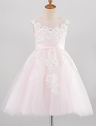 cheap -Princess Knee Length Flower Girl Dress - Lace / Satin / Tulle Sleeveless Jewel Neck with Appliques / Buttons / Belt