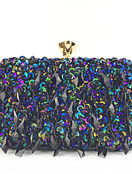 cheap -Women's Sequin / Crystals Polyester Evening Bag Black / White / Blushing Pink