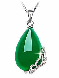 Недорогие -Жен. Зеленый Оникс Ожерелья с подвесками «Груша» Свисающие Бабочка Мода Позолота Светло-Зеленый 40+5 cm Ожерелье Бижутерия 1шт Назначение Подарок Повседневные