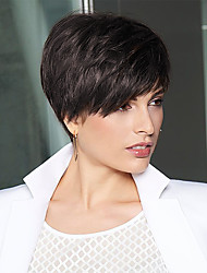 cheap -Human Hair Wig Short Straight Bob Pixie Cut Layered Haircut With Bangs Dark Brown Fashionable Design Life Easy dressing Capless Women's Chestnut Brown 8 inch / Natural Hairline / Natural Hairline