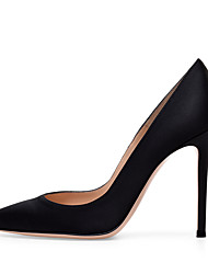 cheap -Women's Heels Stiletto Heel Pointed Toe Satin Sweet / British Fall / Spring & Summer Black / Dark Red / Nude / Party & Evening