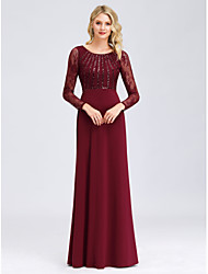 cheap -Sheath / Column Jewel Neck Floor Length Polyester / Nylon / Sequined Elegant / Plus Size Formal Evening Dress with Sequin 2020 / Illusion Sleeve
