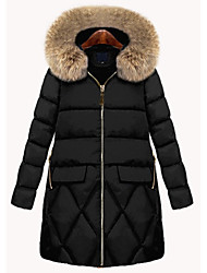 cheap -Women's Solid Colored Parka, Polyester Black L / XL / XXL / Loose