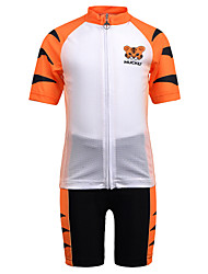 cheap -Nuckily Boys' Girls' Short Sleeve Cycling Jersey with Shorts - Kid's Orange Tiger Bike Clothing Suit Breathable Moisture Wicking Quick Dry Anatomic Design Sports Spandex Tiger Mountain Bike MTB