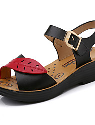 cheap -Women's Sandals Wedge Heel Round Toe Faux Leather Casual / Minimalism Spring & Summer Black / Orange / Blue