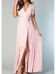 cheap -A-Line Plunging Neck Floor Length Chiffon Bridesmaid Dress with Bow(s) / Split Front / Ruffles / Open Back