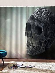 cheap -Party Halloween Skull and Crossbones Background Curtains Horror Dark for Haunted House /Bar Semi-shading Decorative Custom Curtains