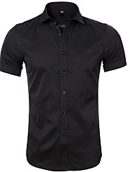 cheap -Men's Daily Wear EU / US Size Shirt - Solid Colored Black / Short Sleeve