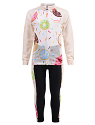 cheap -Nuckily Novelty Boys' Girls' Long Sleeve Cycling Jersey with Tights - Kid's Champagne Bike Clothing Suit Windproof UV Resistant Breathable Sports Winter Fleece Spandex Chinlon Mountain Bike MTB