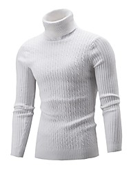 cheap -Men's Solid Colored Long Sleeve Pullover Sweater Jumper, Turtleneck Fall / Winter Black / Wine / Light gray US32 / UK32 / EU40 / US34 / UK34 / EU42 / US36 / UK36 / EU44