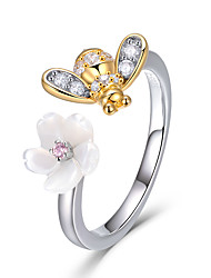cheap -100% 925 Sterling Silver Adjustable Bee And Honey Flower Sweet Wish Finger Rings for Women Party Silver Jewelry