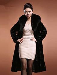 Недорогие -женская повседневная осенняя и зимняя длинная куртка из искусственного меха, однотонная подставка с длинным рукавом из искусственного меха