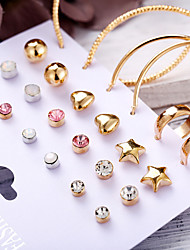 cheap -Women's Stud Earrings Hoop Earrings Earrings Set Vintage Style Heart Star Classic Fashion Elegant Gold Plated Earrings Jewelry Gold For Party Gift Carnival Holiday Club 12 Pairs