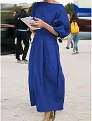 cheap -Women's Street chic Shift Dress - Solid Colored Black Light Blue Fuchsia S M L XL