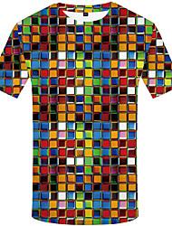 cheap -Men's Weekend Street chic T-shirt - Polka Dot / Geometric / 3D Black & White, Pleated / Print Rainbow