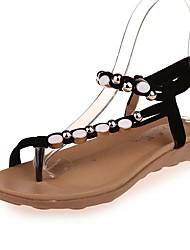 cheap -Women's Sandals Flat Heel Open Toe Microfiber Summer Black / Wine / Beige