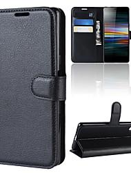 Недорогие -чехол для sony xperia 10 / sony xperia 10 plus кошелек / держатель карты / флип чехлы для тела сплошной цвет искусственная кожа