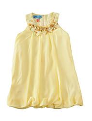 Недорогие -малыш Девочки Активный / Классический Однотонный Пайетки Без рукавов До колена Платье Желтый