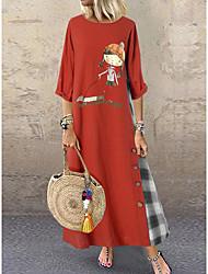cheap -Women's Basic A Line Dress - Maxi Geometric Blue Red Green L XL XXL XXXL