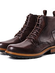 cheap -Men's Combat Boots Leather Fall & Winter Boots Mid-Calf Boots Green / Coffee
