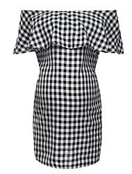 cheap -Women's Knee-length Maternity Black Dress Elegant Bodycon Check Black & White Patchwork Print S M
