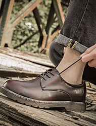 cheap -Men's Leather Shoes Leather Spring Oxfords Black / Brown / Red