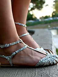 cheap -Women's Sandals Flat Heel Peep Toe Buckle PU(Polyurethane) Sweet / Minimalism Spring &  Fall / Spring & Summer Silver