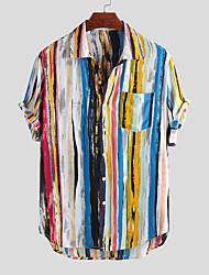 Недорогие -Муж. С принтом Рубашка Богемный Контрастных цветов Синий