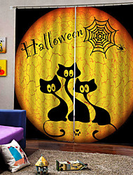 cheap -Factory Direct Price UV Digital Printing Happy Halloween Theme Curtains Blackout Custom Rod Set Curtain