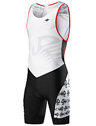 cheap -SANTIC Men's Sleeveless Triathlon Tri Suit Black / White Bike Triathlon / Tri Suit Mountain Bike MTB Triathlon Breathable Moisture Wicking Quick Dry Sports Polyester Elastane Terylene Clothing Apparel