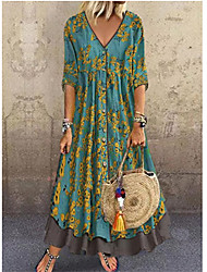 cheap -Women's 2020 Vacation Holiday Casual Maxi Loose A Line Dress - Floral Print Layered Print Deep V Spring & Summer Red Green Gray M L XL XXL