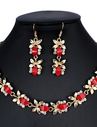cheap -Women's Black Blue Green Bridal Jewelry Sets Link / Chain Floral Theme Vintage Boho Elegant Resin Earrings Jewelry Black / Dark Green / Red For Party 1 set