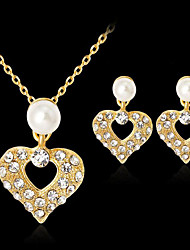 cheap -Women's Cubic Zirconia Bridal Jewelry Sets Hollow Out Heart Stylish Earrings Jewelry Gold For Gift Daily 1 set