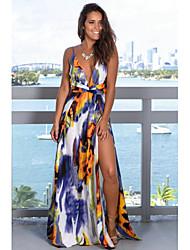 cheap -Women's Boho Maxi Swing Skirts - Geometric Chiffon / Print Yellow M L XL / Loose