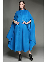 cheap -Women's Daily Basic Long Cloak / Capes, Solid Colored Round Neck Long Sleeve Polyester Blue / Black / Red / Loose