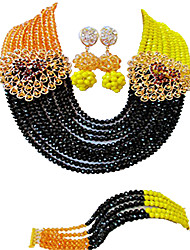 cheap -Women's Necklace Earrings Bracelet Beads Lucky Elegant Africa Earrings Jewelry Black / Royal Blue For Wedding Party Gift Daily Festival 1 set