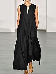 cheap -Women's Plus Size Maxi Swing Dress - Solid Colored V Neck Wine Blue Black S M L XL