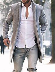 Недорогие -Муж. Повседневные Размер ЕС / США Длинная Пальто, Однотонный Лацкан с тупым углом Длинный рукав Полиэстер Серый / Хаки