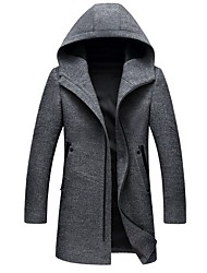 cheap -Men's Daily EU / US Size Long Coat, Solid Colored Hooded Long Sleeve Polyester Black / Gray